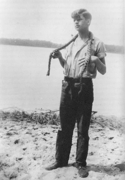 Gaylord Nelson in his youth on the shore of Clear Lake, Wisconsin